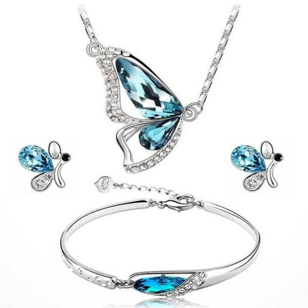 Women's Butterfly Jewelry Set-Jewelry Sets-Blue-Product Details: Women's Butterfly Silver Plated Jewelry Set Jewelry Sets Type: Necklace / Earrings / Bracelet Material: Crystal Metals Type: Silver Plated Occasion: Party Style: Trendy Shape Pattern: Plant Fine or Fashion: Fashion-Keyomi-Sook