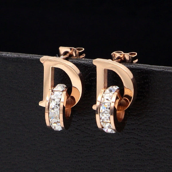 Letter D Initial & Crystal Stud Earrings-Ladies Earrings-Keyomi-Sook