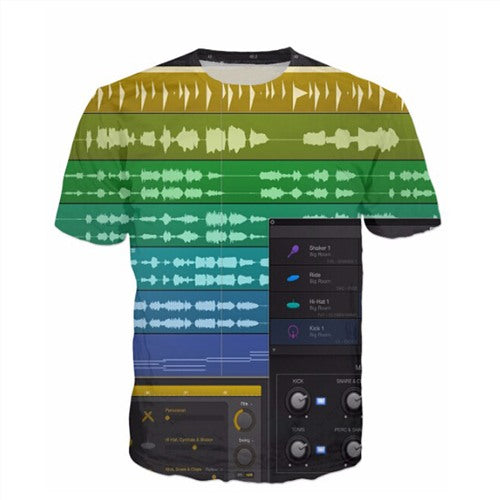Men'S 3D Graphic Equalizer Synthesizer T-Shirts-Multi Color 5-(L) 37, 15, 26 IN-Keyomi-Sook