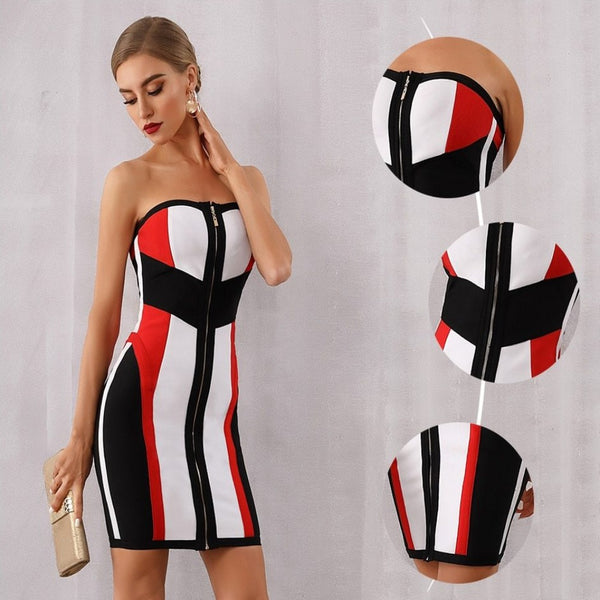 Women's Zipper Up Strapless Midi Bodycon Bandage Dress-BodyCon Dresses-Product Details: Women's Red, Black & White Zipper Up Strapless Midi Bodycon Bandage Dress Material: Polyester, Spandex Style: Sexy & Club Silhouette: Sheath Pattern Type: Patchwork Sleeve Length (cm): Sleeveless Decoration: Zippers Dresses Length: Above Knee, Mini Sleeve Style: Strapless Waistline: Empire Neckline: Strapless Season: Summer, Spring, Autumn, Winter Color: As Photo Fabric Type: Knitting Occasion: Evening Party,