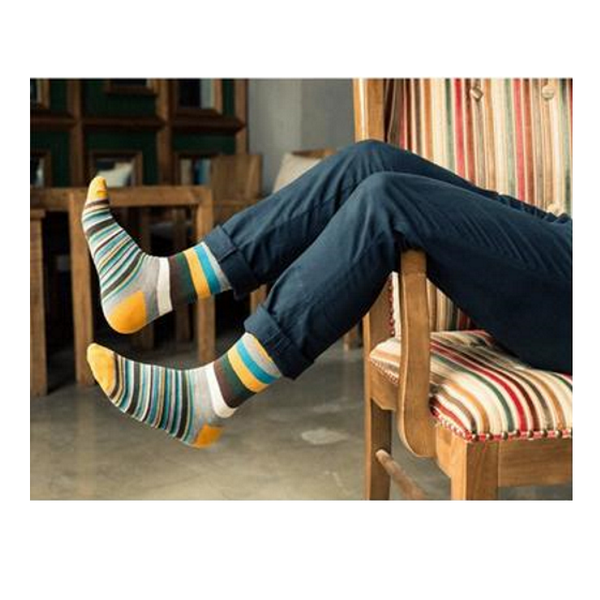 5 Pairs Vivid Colour Striped Cotton Mens Socks-Men's Dress Socks-Keyomi-Sook
