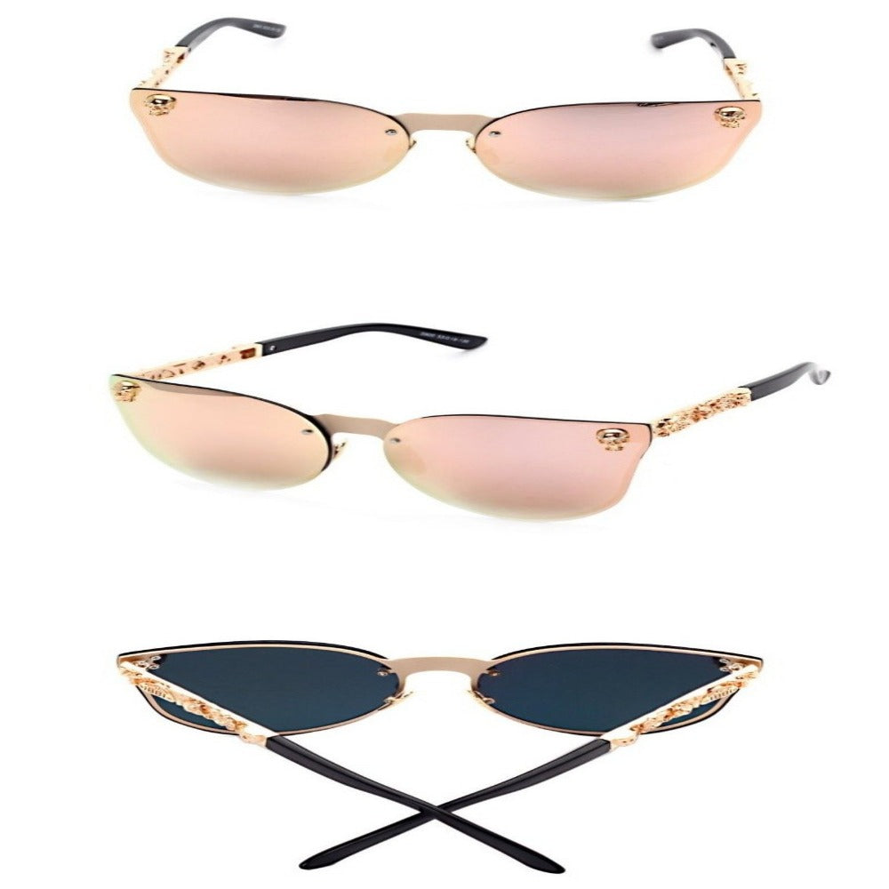 Women's Gothic Style Skull Frame Sunglasses-Ladies Sunglasses-Product Details: Women Gothic Sunglasses Skull Frame Metal Temple High Quality Sun glasses Protect Yours Eyes While Reflecting Your Style Lenses Optical Attribute: Mirror Style: Shield Frame Material: Alloy Lenses Material: Polycarbonate Dimensions: Lens Width: 58 mm Lens Height: 45 mm-Keyomi-Sook