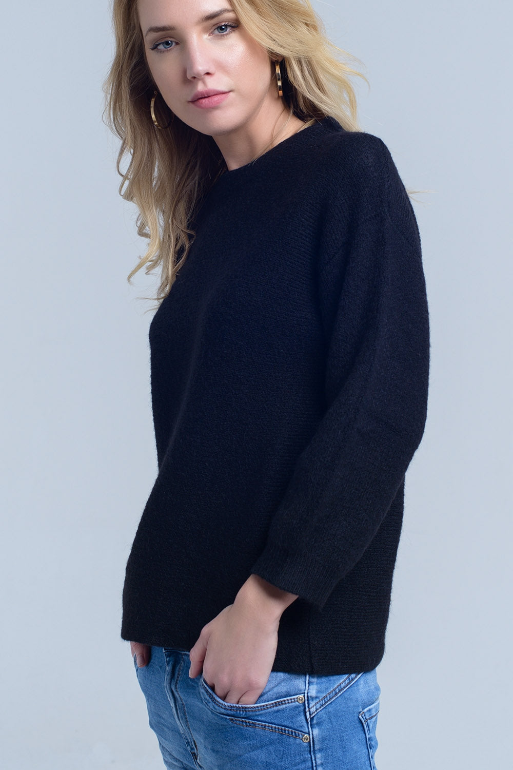 Black Knitted Crew Neck Sweater-Women - Apparel - Sweaters - Pull Over-Product Details Basic black crew neck sweater.-Keyomi-Sook
