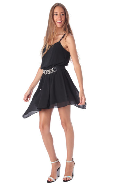 Black Chiffon Skater Dress With Chain Straps-Women - Apparel - Dresses - Day to Night-L-Keyomi-Sook
