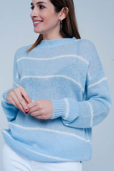 Blue Striped Crew Neck Sweater-Women - Apparel - Sweaters - Pull Over-L-Keyomi-Sook