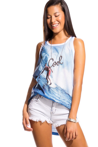Vest With Surf Print-Women - Apparel - Shirts - Blouses-Product Details T-shirt made from 100% pure cotton and open mesh design with scoop neckline stepped hem and dropped armholes. wear it with you shorts look great spring breakers.-Keyomi-Sook