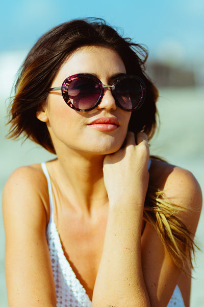Karolina Sunglasses-Women - Apparel - Shirts - Tunics-Product Details Floral plastic frames with metal bridge Purple tinted lenses All sale items are Final Sale Easy Measure Conversion XS/0 S/1 M/2 L/3 US 0/2 2/4 6/8 8/10 AUS 4/6 6/8 10/12 12/14 BRAZIL 34/36 36/38 40/42 42/44 CHINA 76a/80a 80a/84a 88a/92a 92a/95a EUP 32/34 34/36 38/40 40/42 JAP 5/7 7/9 11/13 13/15 RUS 42 42/44 46/48 50/52 UK 4/6 6/8 10/12 12/14 Detailed View Size Chart-Keyomi-Sook