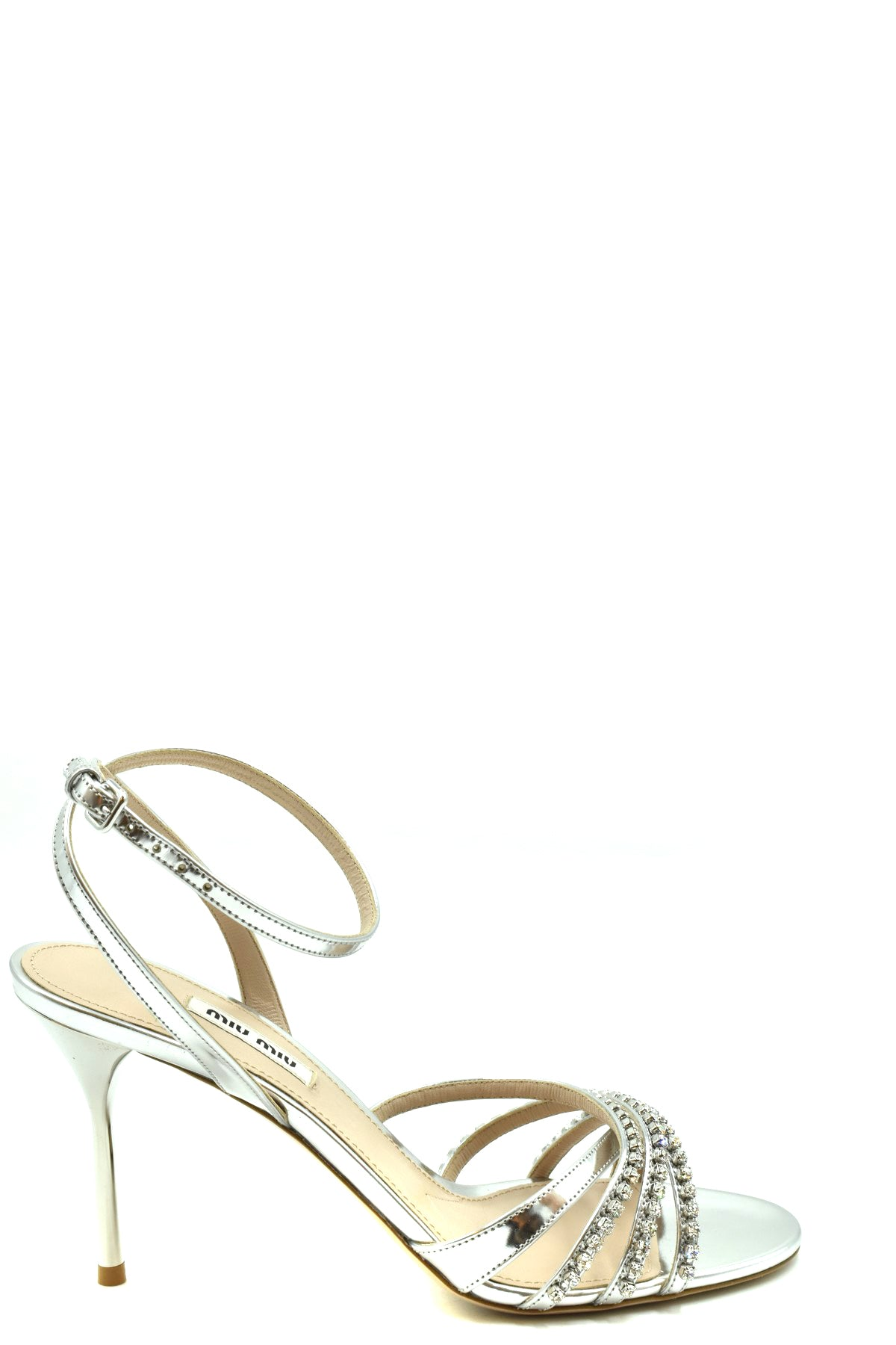 Shoes Miu Miu-Women's Fashion - Women's Shoes - Women's Sandals-35.5-Product Details Terms: New With LabelMain Color: SilverType Of Accessory: ShoesSeason: Spring / SummerMade In: ItalyGender: WomanHeel'S Height: 9 Cm Size: EuComposition: Leather 100%Year: 2020Manufacturer Part Number: 5X994C-Keyomi-Sook