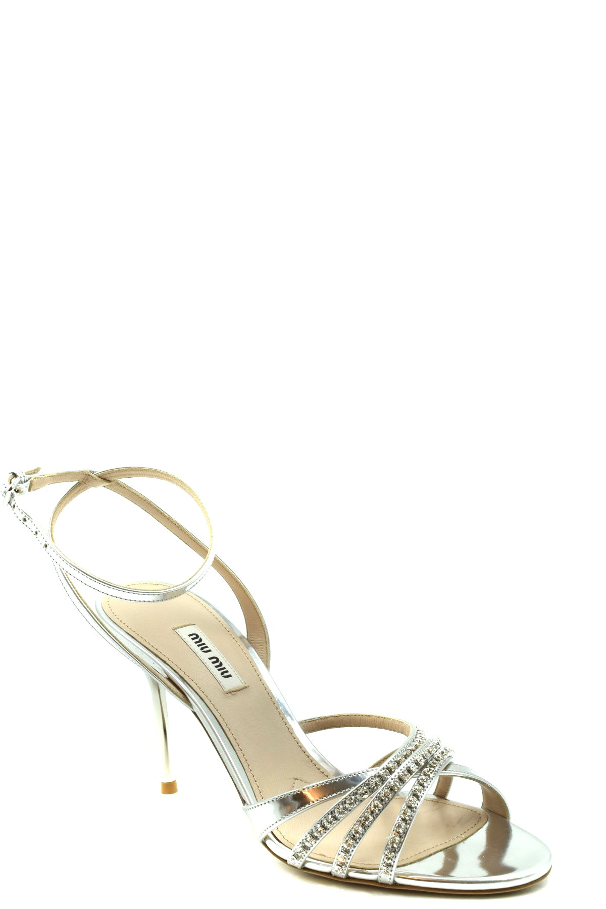 Shoes Miu Miu-Women's Fashion - Women's Shoes - Women's Sandals-Product Details Terms: New With LabelMain Color: SilverType Of Accessory: ShoesSeason: Spring / SummerMade In: ItalyGender: WomanHeel'S Height: 9 Cm Size: EuComposition: Leather 100%Year: 2020Manufacturer Part Number: 5X994C-Keyomi-Sook