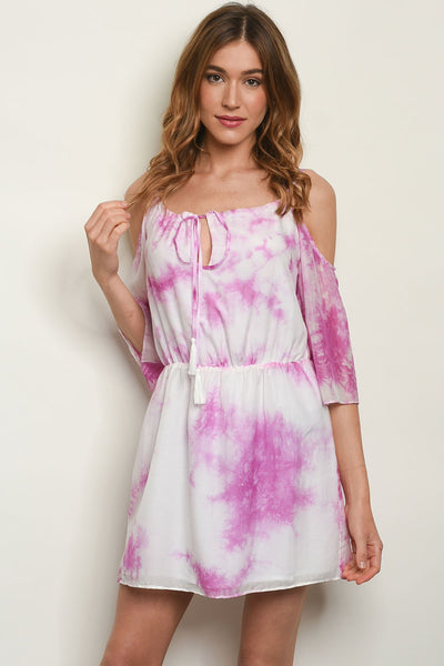 "Off White Magenta Tie Dye Dress-Women - Apparel - Dresses - Day to Night-Product Details 3/4 sleeve cold shoulder tie dye tunic dress. Country: CHINAFabric Content: 100% RAYONSize Scale: XS-S-M-LDescription: L: 33"" B: 34"" W: 26""-Keyomi-Sook"