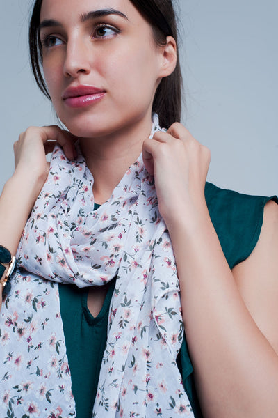 White Scarf With Floral Print-Women - Accessories - Scarves-Product Details White floral scarf made from cotton and silk Made in Italy-Keyomi-Sook