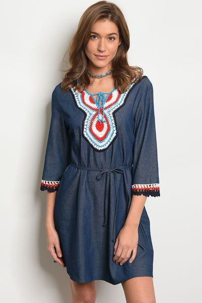 "Womens Embroidery Dress-Women - Apparel - Dresses - Day to Night-Product Details 3/4 sleeve crochet embroidery detail denim tunic dress. Country: CHINAFabric Content: 65% COTTON 35% POLYESTERSize Scale: S-M-LDescription: L: 35"" B: 38"" W: 38""-Keyomi-Sook"