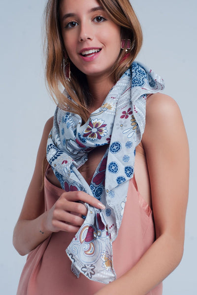Gray Scarf With Flower Print-Women - Accessories - Scarves-Keyomi-Sook