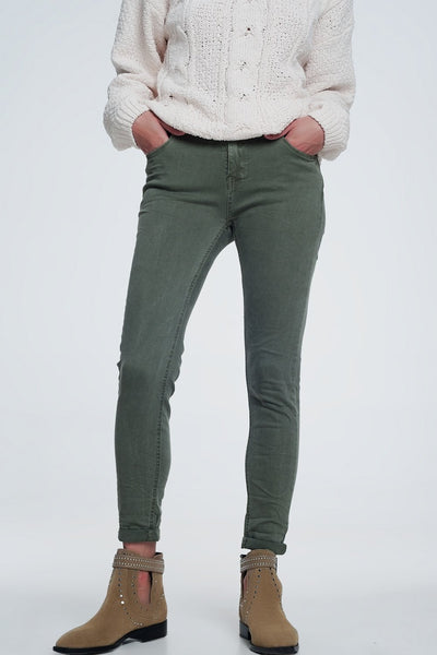 High Waisted Skinny Jeans In Green-Women - Apparel - Pants - Trousers-Large-Keyomi-Sook