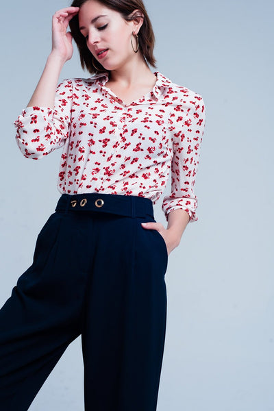 Blouse With Flower Print In White-Women - Apparel - Shirts - Blouses-Large-Keyomi-Sook