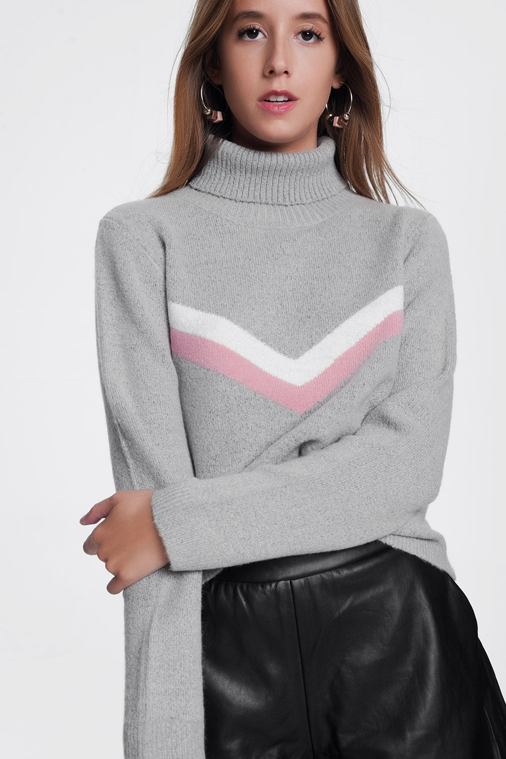 Sweater With Chevron Detail In Grey-Women - Apparel - Sweaters - Pull Over-Product Details Soft-touch turtleneck with long sleeves with contrasting zig zag stripe print-Keyomi-Sook