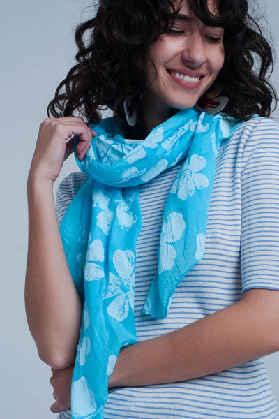 Turquoise Scarf With Flower Print-Women - Accessories - Scarves-Product Details Turquoise scarf with flower print made from high quality cotton Made in Italy-Keyomi-Sook