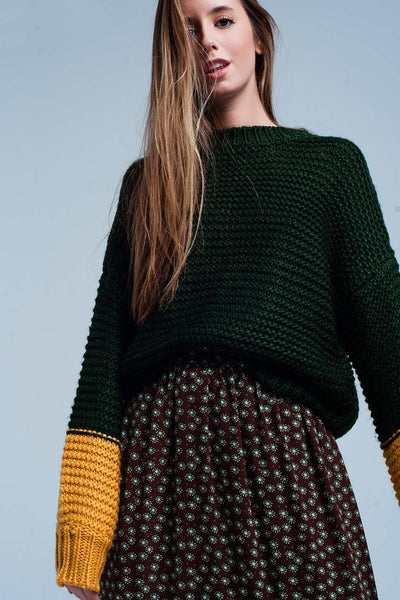 Green Knitted Sweater With Mustard Sleeves-Women - Apparel - Sweaters - Pull Over-M-Keyomi-Sook