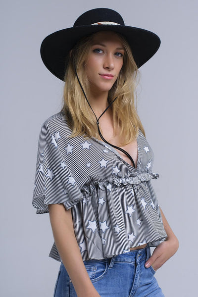Black Top With Stars And Ruffle-Women - Apparel - Shirts - Blouses-Product Details Black crop top with V-neck and short sleeves. It has an elastic band ith ruffles under the chest. It is a stripes top whit stars printed pattern.-Keyomi-Sook