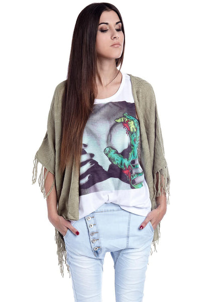 Green Poncho Cape With Fringing-Women - Apparel - Outerwear - Jackets-Medium-Keyomi-Sook