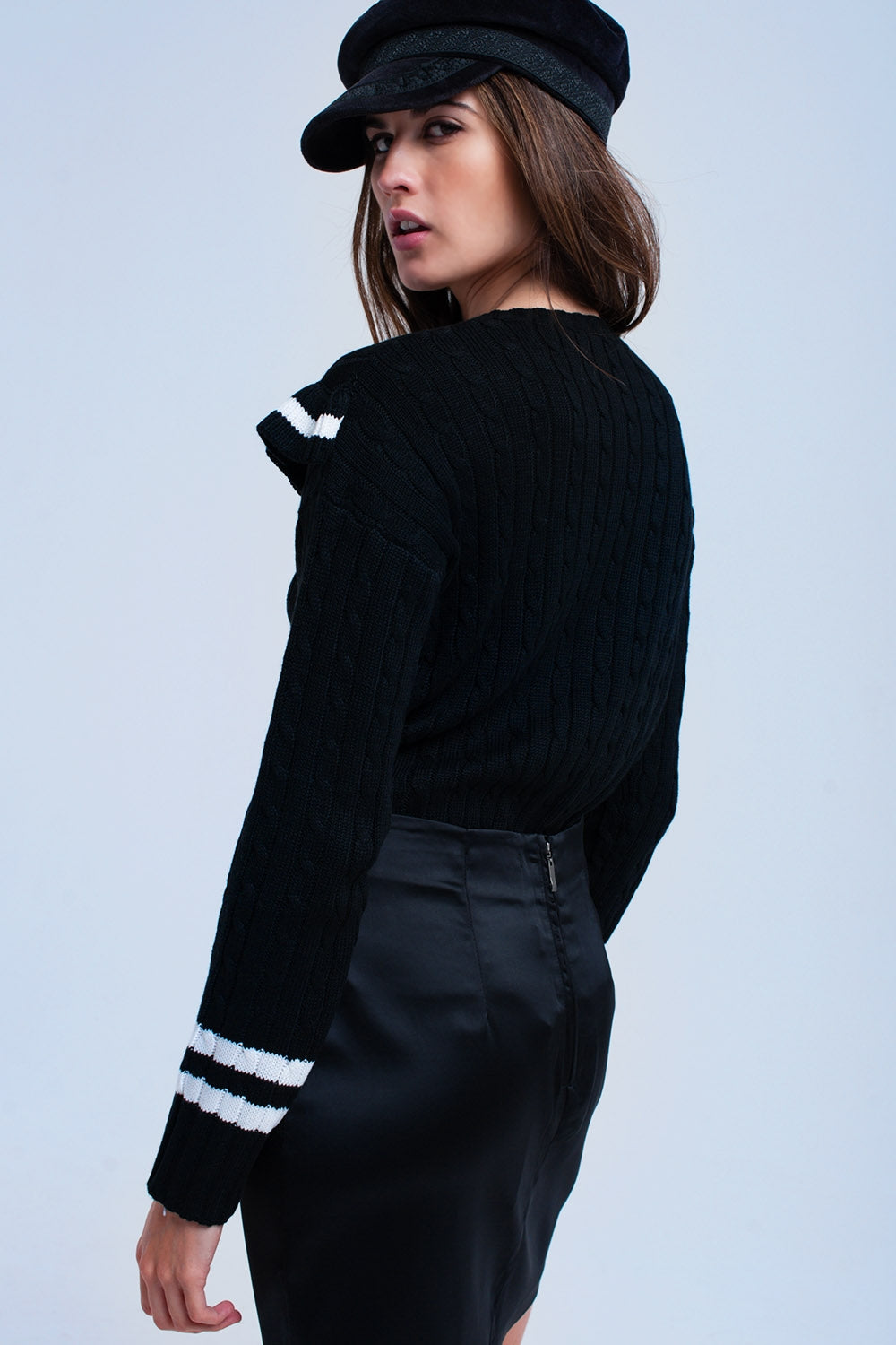 Cable Knit Black Sweater With Ruffles-Women - Apparel - Sweaters - Pull Over-Product Details Cable knit sweater in black with a ruffle detail at the top of the sweater. It has a white stripe in the ruffle, and two white stripes at the end of the long sleeves. It also has crew neck and round hem.-Keyomi-Sook