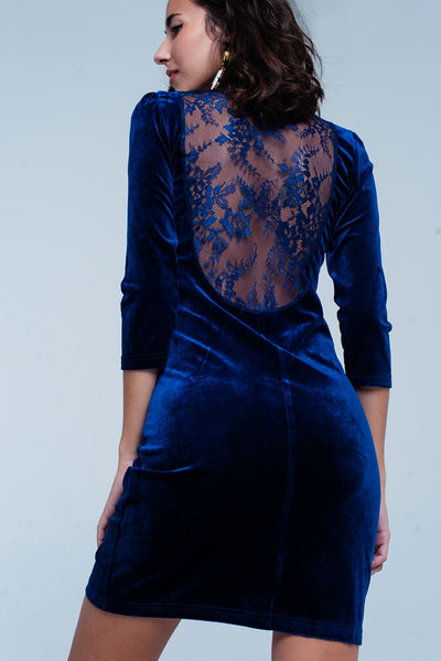 Dark Blue Velvet Mini Dress Open Back-Women - Apparel - Dresses - Day to Night-Product Details This party dress is super chique and shiny because of it's velour look. There is a surprise in the back with a very deep lace insert. The dress is very stretchy and bodycon fitted.-Keyomi-Sook