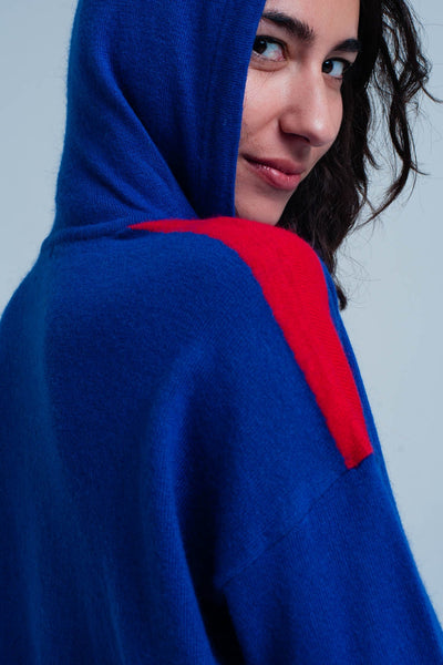 Blue Knitted Hoodie With Red Side Stripes-Women - Apparel - Sweaters - Pull Over-L-Keyomi-Sook