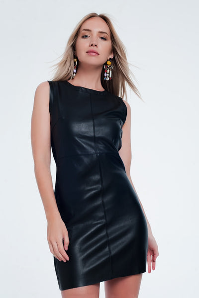 Faux Leather Mix Shift Black Dress-Women - Apparel - Dresses - Day to Night-Product Details Short and comfortable dress in a very tight style with combined fabric has no sleeves and round neck-Keyomi-Sook