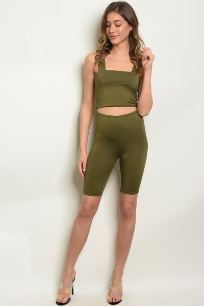 Womens Top & Short Set-Women - Apparel - Lingerie and Sleepwear - Pajama Sets-Small-Olive-Keyomi-Sook