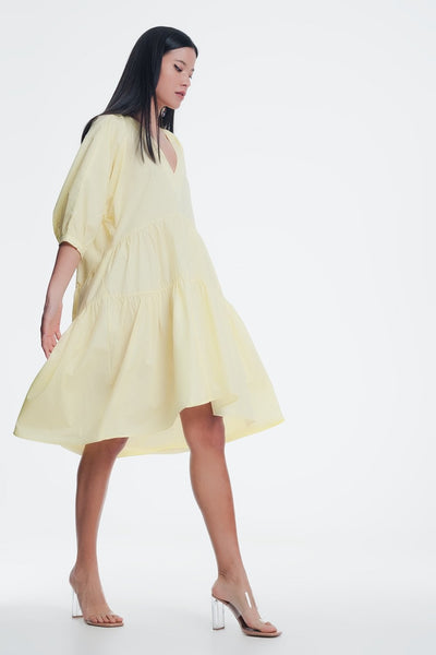 Yellow Midi Dress With v Neck-Women - Apparel - Dresses - Casual-Medium-Keyomi-Sook
