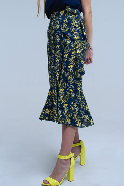 Navy Skirt With Ruffles And Printed Flowers-Women - Apparel - Skirts - Mini-Large-Keyomi-Sook