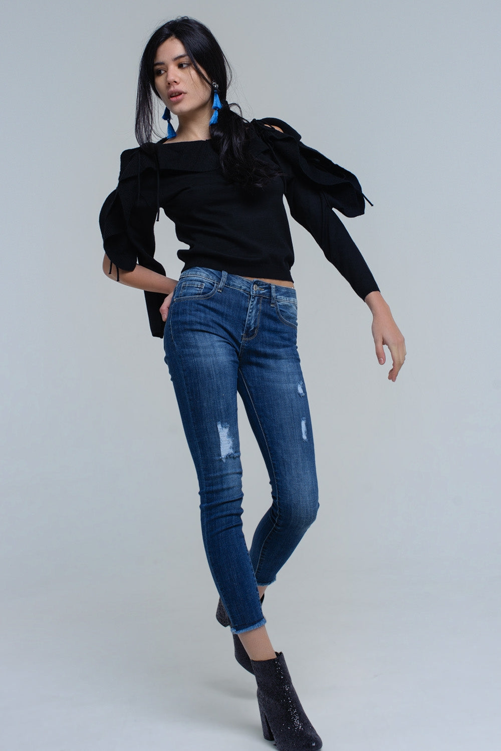 Sweater With Tied Ruffle Sleeves In Black-Women - Apparel - Sweaters - Pull Over-Product Details Crop sweater in black. It has a round neck, a round hem and long sleeves. There are ribbons on the sleeves that start on the shoulder line and finish tied on the wrists. It is in ribbed woven fabric.-Keyomi-Sook