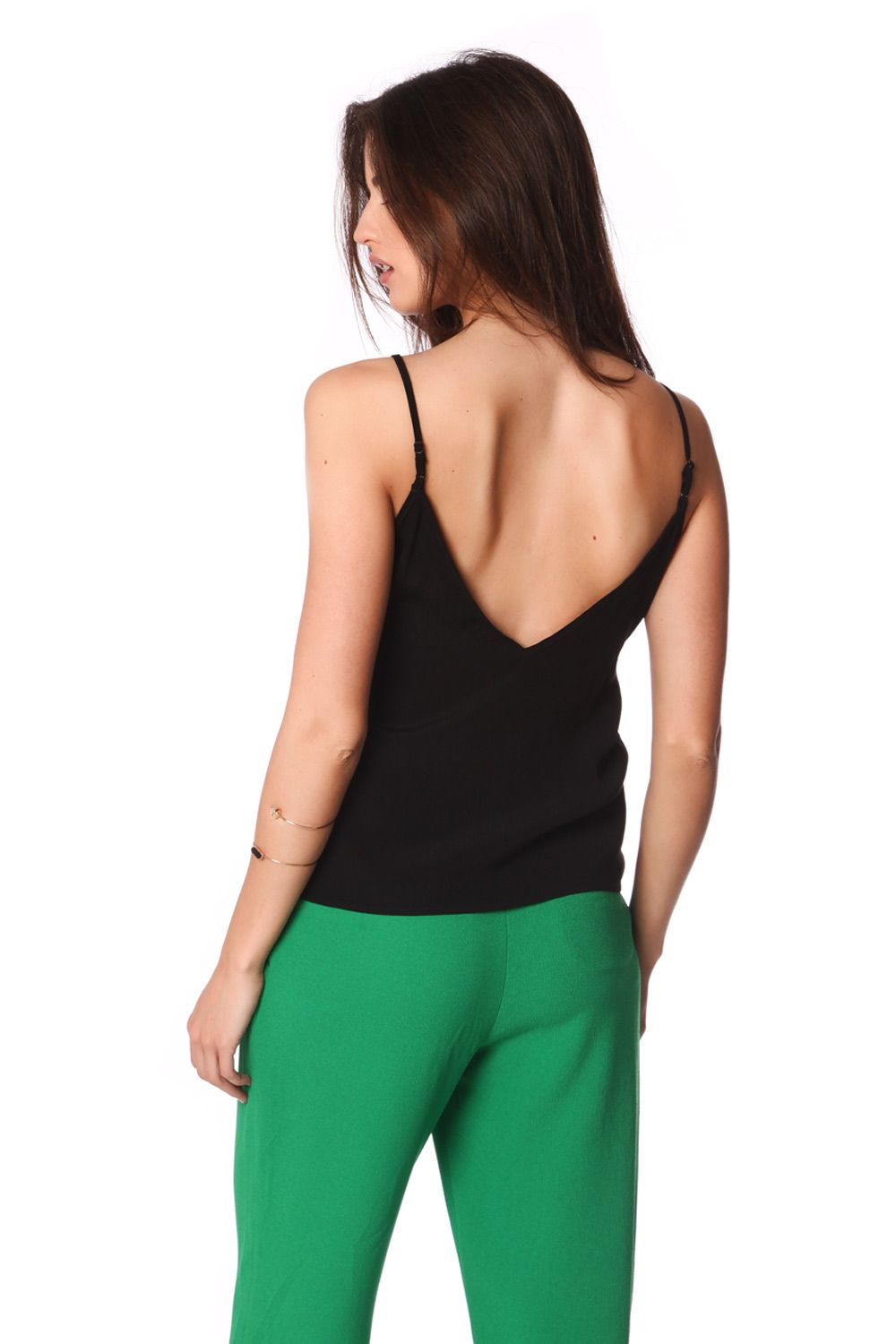 Black Cami Top With Multi Color Cage Detail-Women - Apparel - Shirts - Blouses-Product Details Black cami top with cage detail made from a light woven fabric. V-neck with multi colors and adjustable straps. Deep V-neck on the back side and a loose fit. Cute top for the daytime example!-Keyomi-Sook