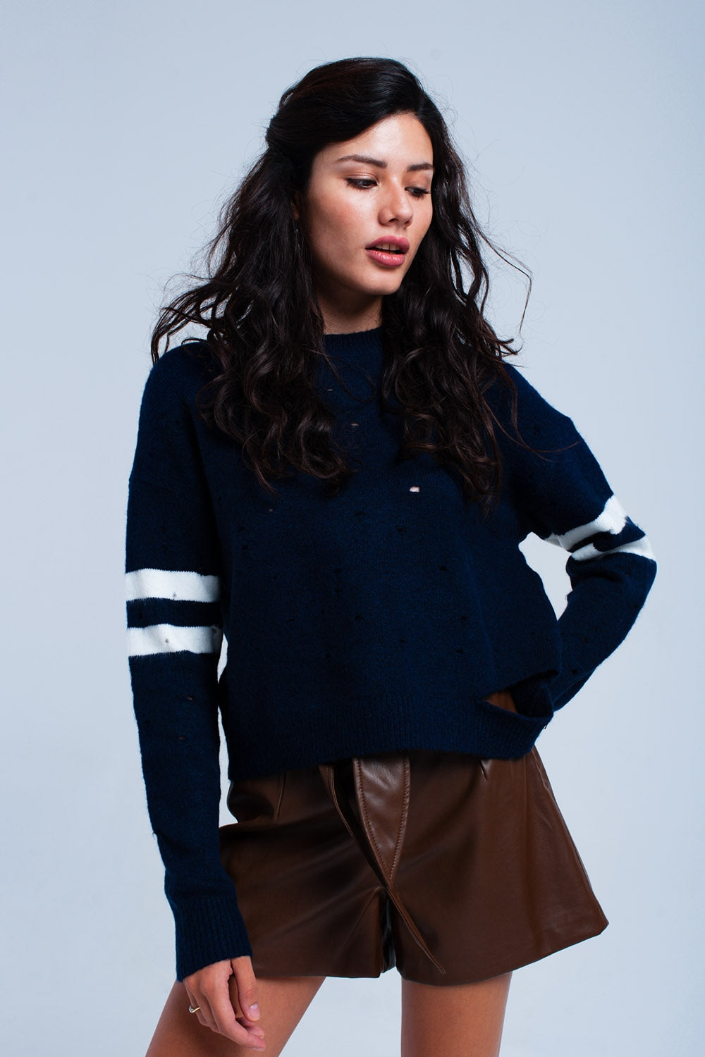 Navy Sweater With Openwork-Women - Apparel - Sweaters - Pull Over-Product Details Navy openwork sweater with two openings, one at the neck and another at the bottom left. There are white stripes at the elbows. Round neckline. Relaxed fit. Soft fabric.-Keyomi-Sook