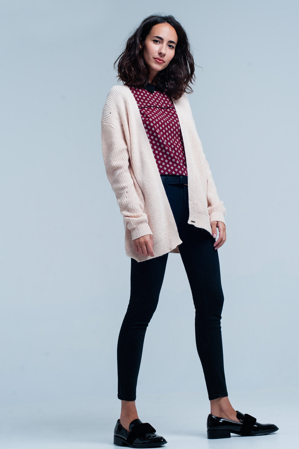 Pink Angora Cardigan With Long Sleeves-Women - Apparel - Sweaters - Cardigans-Product Details Old pink long sleeve jacket in high quality angora. In the shoulders are larger holes that make the cardigan somewhat apart.-Keyomi-Sook