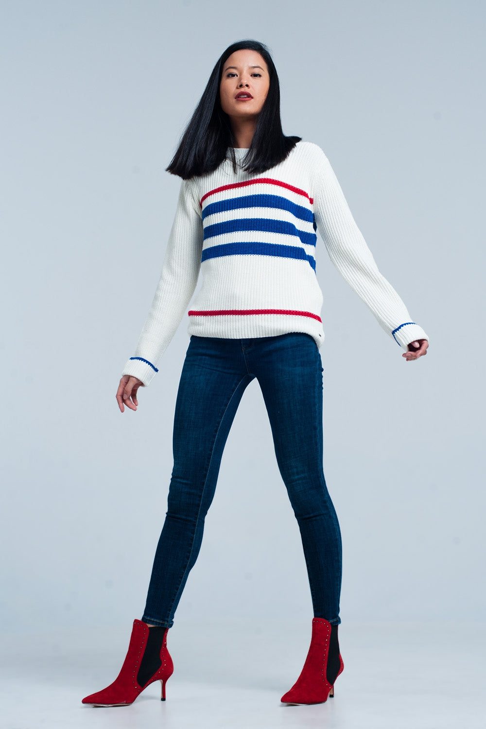 Beige Rib Stitch Sweater With Stripes-Women - Apparel - Sweaters - Pull Over-Product Details Knitted jumper with a rib stitch texture and blue and red vertical stripes. The pullover is made of hundred percent comfort and has a round crew neck and long permanently folded sleeves.-Keyomi-Sook