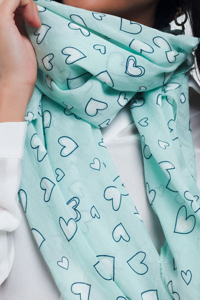 Turquoise Scarf With Heart Print-Women - Accessories - Scarves-Product Details Turquoise scarf with heart print in cotton-Keyomi-Sook