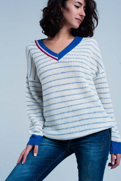 Blue Striped Sweater With V-Neck-Women - Apparel - Sweaters - Pull Over-L-Keyomi-Sook