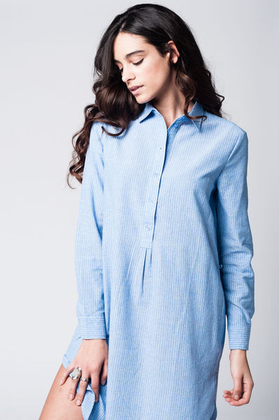 Blue Shirt Dress With Tie Front Detail In Fine Stripe-Women - Apparel - Dresses - Day to Night-L-Keyomi-Sook