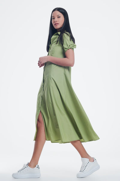 Short Sleeve Poplin Green Dress Buttoned Down-Women - Apparel - Dresses - Day to Night-Large-Keyomi-Sook