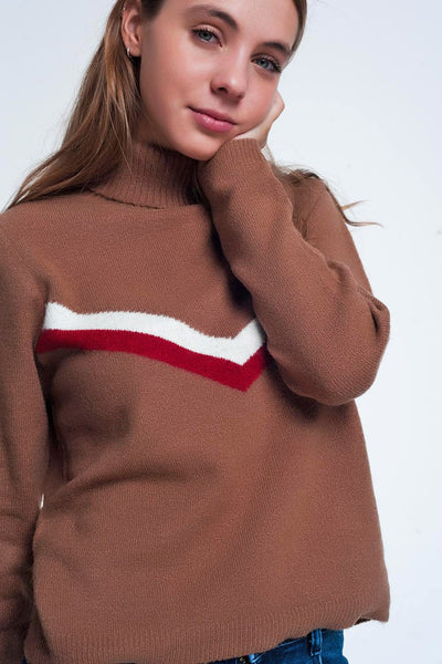 Sweater With Chevron Detail In Brown-Women - Apparel - Sweaters - Pull Over-L-Keyomi-Sook