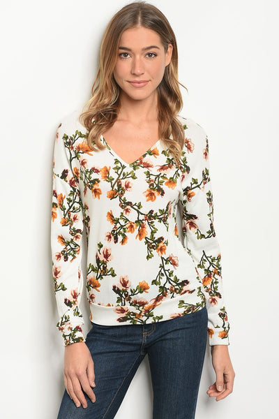 Womens Ivory Floral Top-Women - Apparel - Shirts - Blouses-Small-Keyomi-Sook