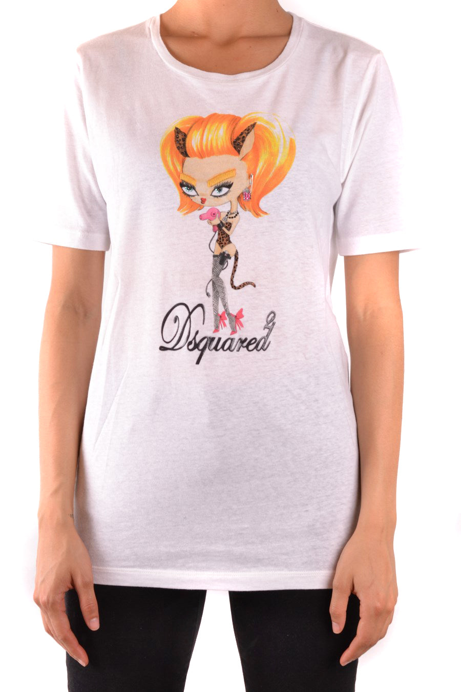 Tshirt Short Sleeves Dsquared-Tshirt Short Sleeves - WOMAN-M-Product Details Terms: New With LabelYear: 2018Main Color: WhiteGender: WomanMade In: ItalyManufacturer Part Number: S20696 S73Gc0097Size: IntSeason: Spring / SummerClothing Type: T-ShirtComposition: Cotton 70%, Linen 30%-Keyomi-Sook