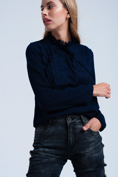 Navy Blouse With Lace Detail-Women - Apparel - Shirts - Blouses-L-Keyomi-Sook