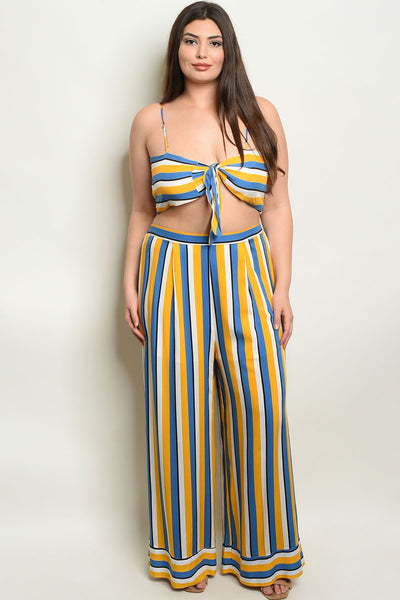 "Womens Stripes Plus Size Top & Pants-Women - Apparel - Plus-Product Details Plus size sleeveless striped crop top and bottom set. Country: CHINAFabric Content: 100% RAYONSize Scale: 1XL-2XL-3XLDescription: TOP: L: 17"" B: 38"" W: 36"" PANTS: L: 42"" W: 34"" I.S.: 27""-Keyomi-Sook"