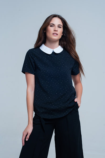 Polka Dots Top In Black With Pan Collar-Women - Apparel - Shirts - Blouses-L-Keyomi-Sook