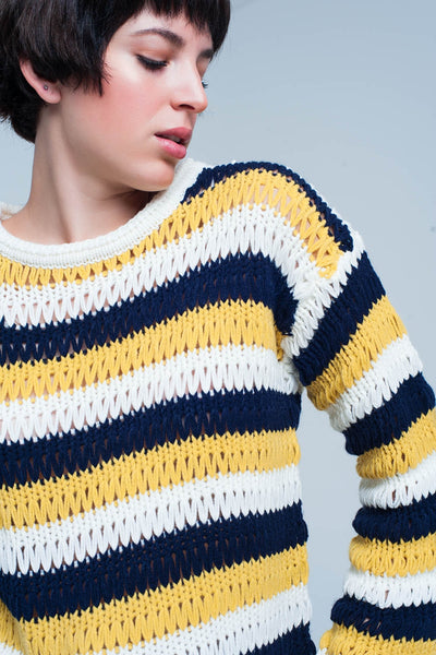 Mustard Striped Chunky Knit Sweater-Women - Apparel - Sweaters - Pull Over-M-Keyomi-Sook