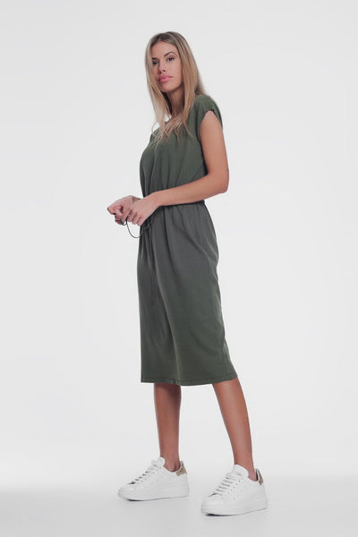 Khaki Short-Sleeved T-Shirt Dress With Knotted Waist-Women - Apparel - Dresses - Casual-Large-Keyomi-Sook