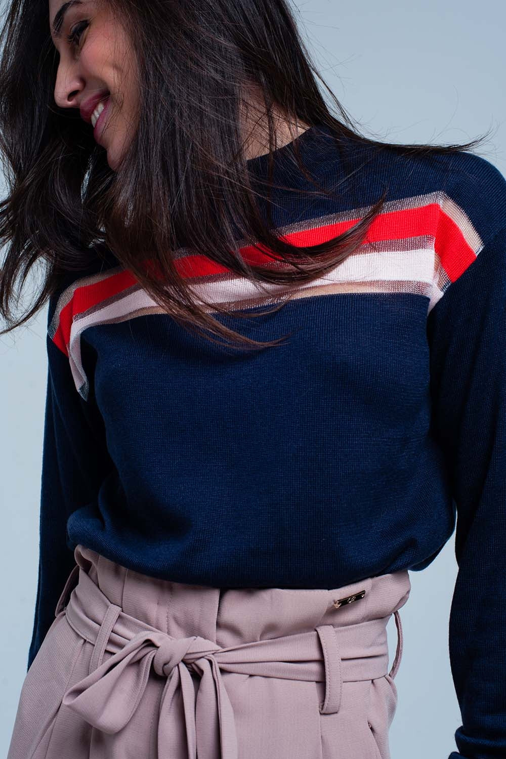 Navy Fine Knitted Sweater With Transparent Stripe-Women - Apparel - Sweaters - Pull Over-Product Details Dark blue fine knitted sweater of soft wool and comfy poly with a partly see through stripe and tencel red and pink. The pullover has a mock neck and long sleeves.-Keyomi-Sook