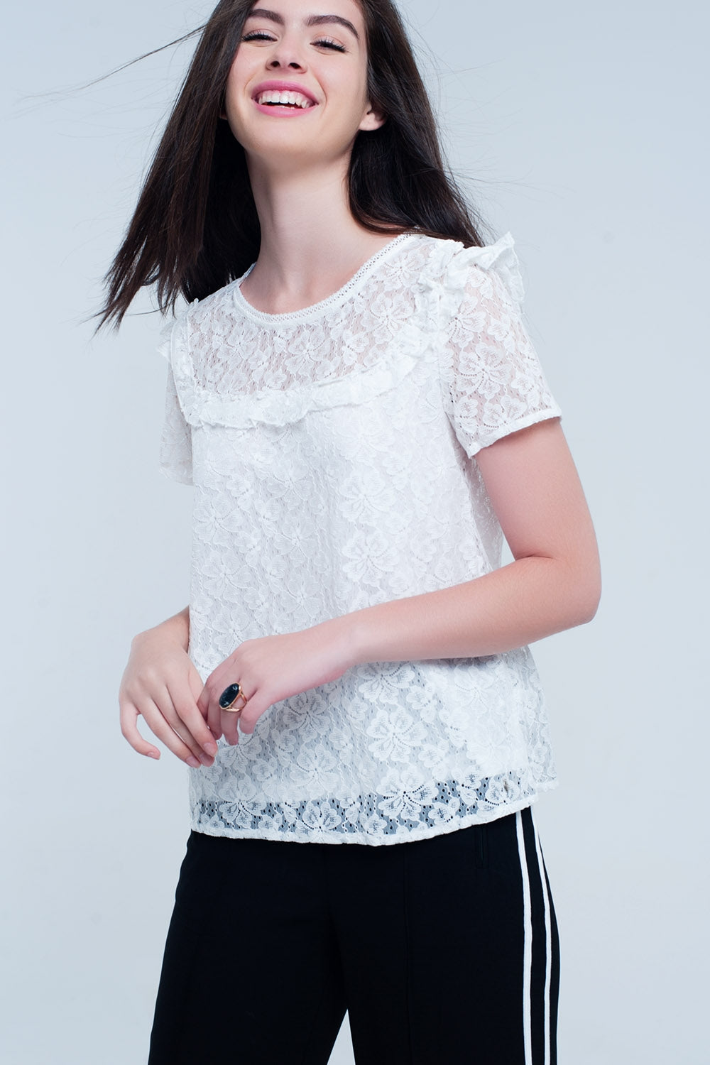 White Embroidered Top-Women - Apparel - Shirts - Blouses-Product Details White embroidered top. Short sleeves. Detail of an opening in the back. Detail of ruffles on the front and back.-Keyomi-Sook